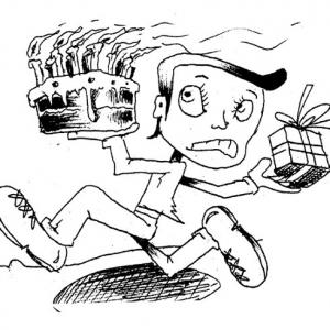 Cartoon - Figur mit Geburtstagstorte und Geschenk