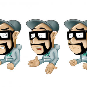 Cartoon - Figuren mit Brille und Cap