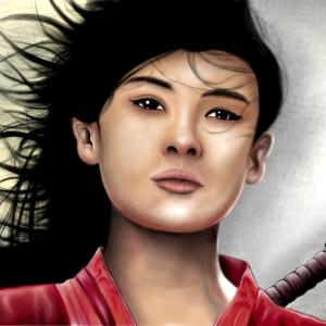 Illustration - Portrait - Samurai- Kriegerin mit Schwert