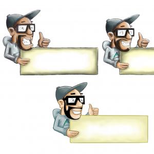 Cartoon-Figur mit Werbebanner