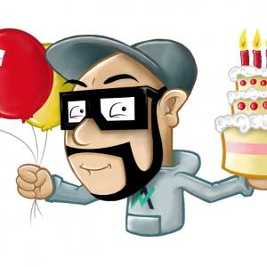Illustration - Geburtstagstorte und Luftballons