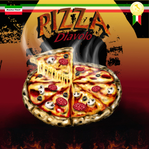 Illustration - Pizzaschachtel Pizza Diavolo