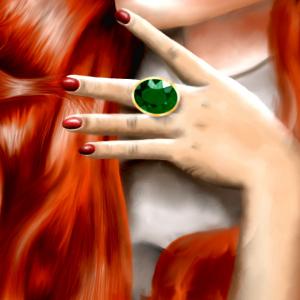 Illustration - Rothaarige Frau mit Smaragdring